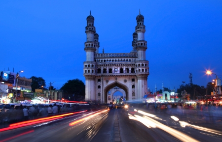HYDERABAD,INDIA -AUGUST 29    Charminar in Hyderabad on August 29,2012, Is listed among the most recognized structures in India, Built in 1591