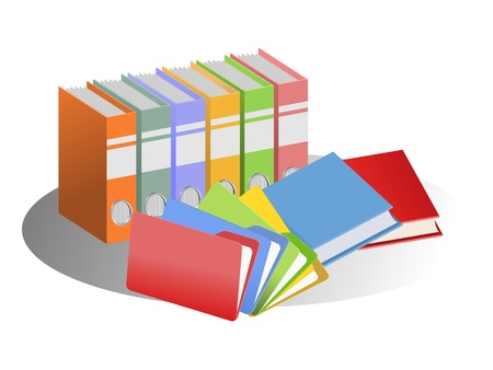 An illustration of colorful files and books Imagens