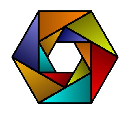 Colorful hexagon shaped design element