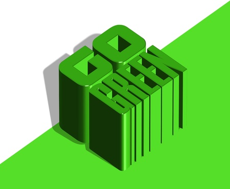 An illustration of 3d Go green icon illustration