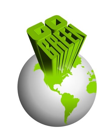 go green: An illustration of 3d go green icon Stock Photo