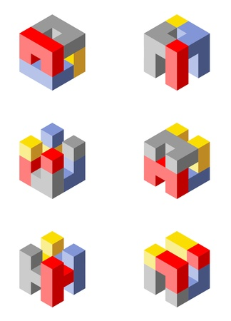 Cubical icons made with blocks photo