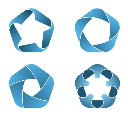 Vector illustration of blue pentagon icons illustration