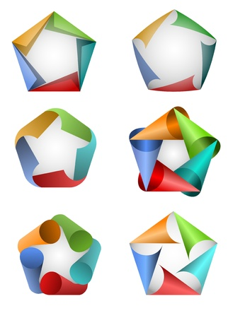 Vector illustration of colorful pentagon icons Stock fotó