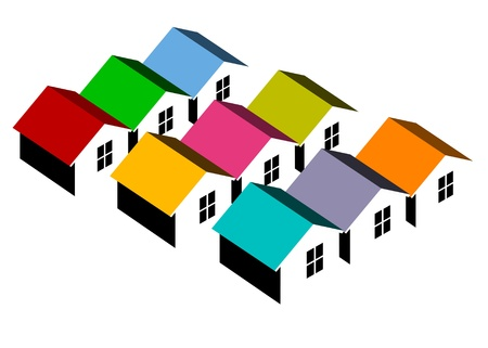 row houses: Vector illustration of block of colorful homes