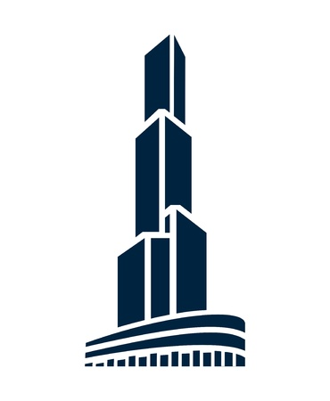 office building: Vector illustration of tall building real estate icon Illustration