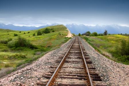 Train track in prairie landscape of Montana Stockfoto
