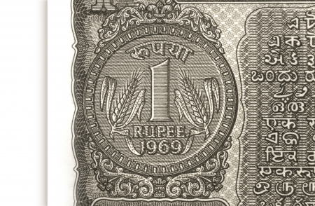 plating: One rupee coin symbol on the note Stock Photo