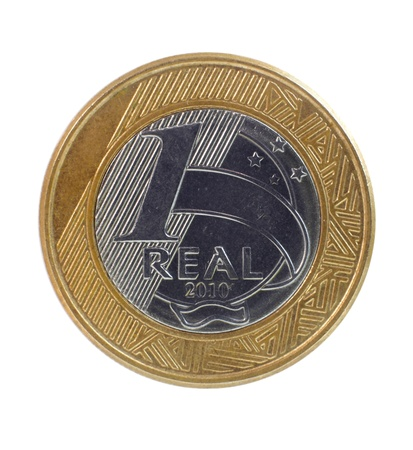 One single Brazilian real coin on white background 스톡 콘텐츠