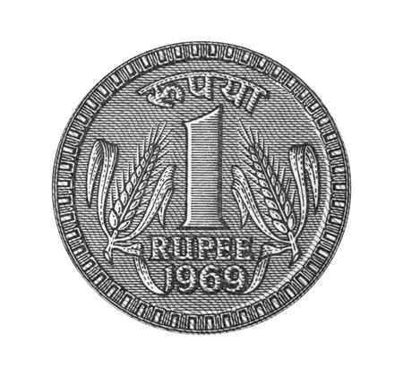 Eine Rupie von 1969 beachten Standard-Bild - 20403877