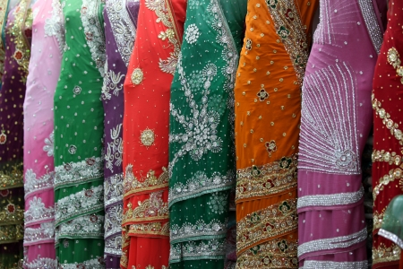 traditional culture: Display of Indian Sarees in the showroom Stock Photo