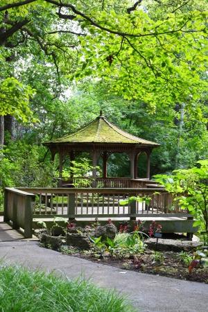 cedar shakes: Gazebo in Toledo botanical gardens Stock Photo