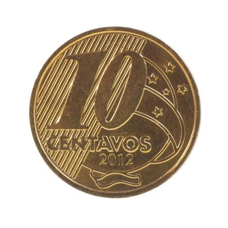 plundering: 10 Braziliaanse real centavos munt geïsoleerd