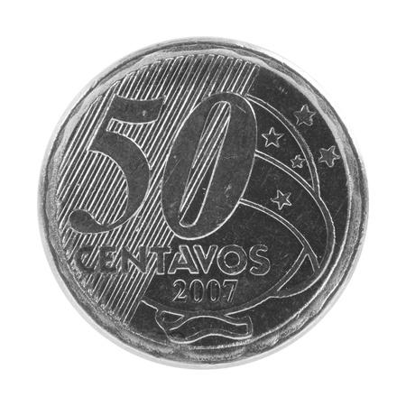 plundering: 50 Braziliaanse real centavos munt geïsoleerd Stockfoto