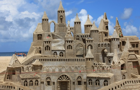 sandcastle: Beautifully constructed sand castle in the beach Stock Photo