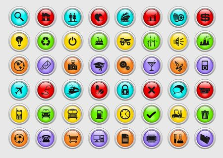 gas ball: An illustration of colorful industrial icons Stock Photo