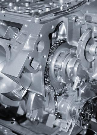 Automotive engine details in monochrome 写真素材