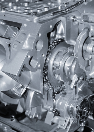 horse pipes: Automotive engine details in monochrome Stock Photo