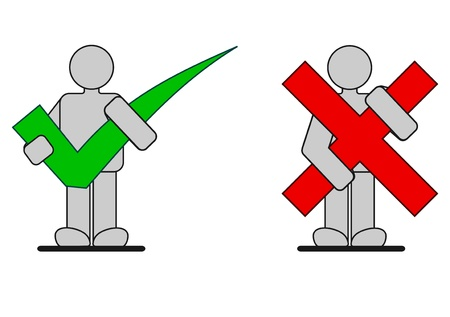 Correct and wrong icons photo