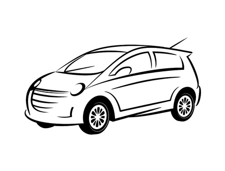 Line Drawing Car : An illustration of fast moving car made with line art stock photo