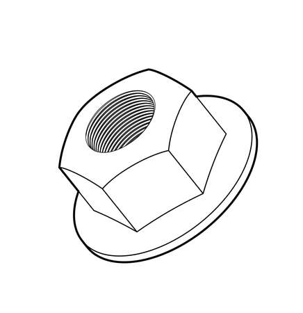 heavy industry: Sketch of hexagon mechanical nut