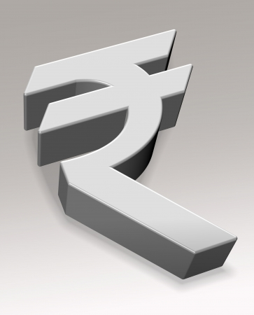 india 3d: An illustration of 3d rupee symbol