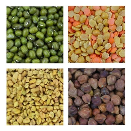 fenugreek: Different lentils and Fenugreek seeds Stock Photo