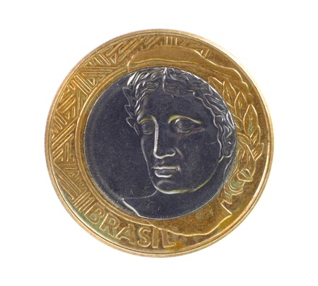 pillage: One Brazil real coin on white background