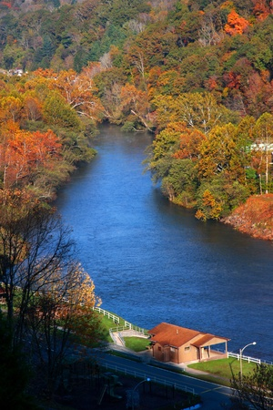 west virginia trees: Beautiful river near Sutton West Virginia in autumn