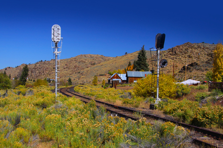 Old train track in rural Colorado  photo