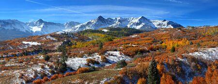 colorado mountains: Panoramic view of scenic Dallas divide landscape in Colorado Stock Photo