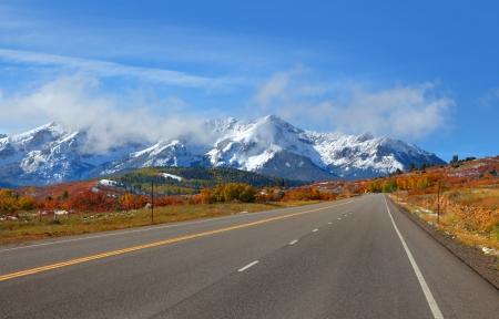 divide: Scenic road to Dallas Divide in Colorado Stock Photo