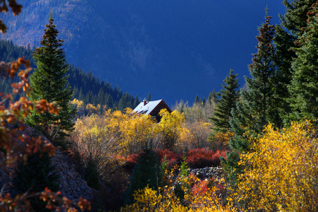 Cabin in the middle of scenic landscape photo