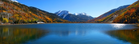 Panoramic view of beautiful crystal lake in Colorado