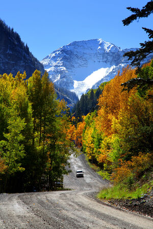 Scenic back road driving in Colorado San Juan mountains photo