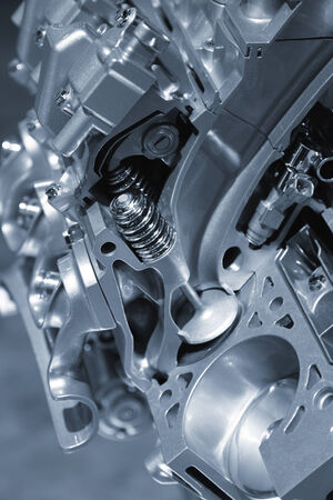 exhaust valve: Sectional view of automotive engine Stock Photo