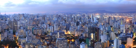 Aerial view of Sao Paulo in the night  time