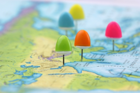 Thumb tacks on Asia map Stock Photo
