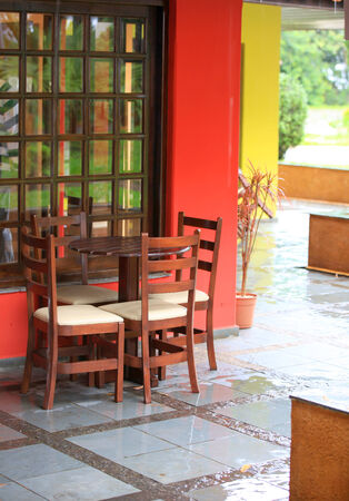 fine cane: Small dining table in the patio