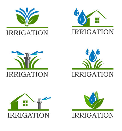 An illustration of Irrigation icons Stok Fotoğraf