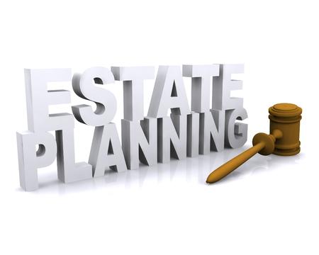 3D illustration of Estate planning concept