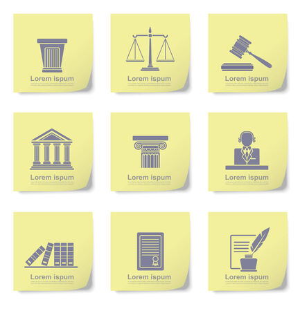 courthouse: An illustration of law icons on yellow slips