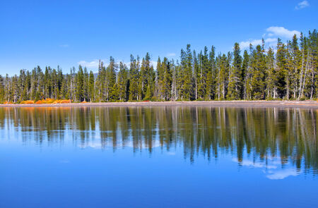 basin mountain: Perfect reflections in yellowstone national park Stock Photo