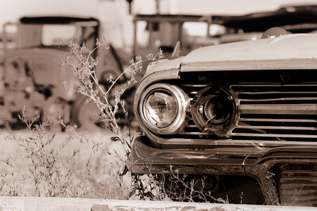 dirty car: Old abandoned cars in the junk yard Stock Photo