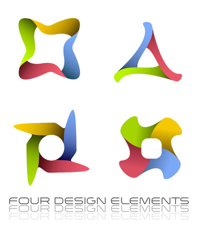 Four continuous looped design elements Stock Photo