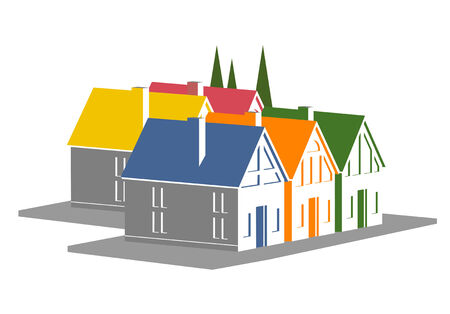 An illustration of colorful vacation homes