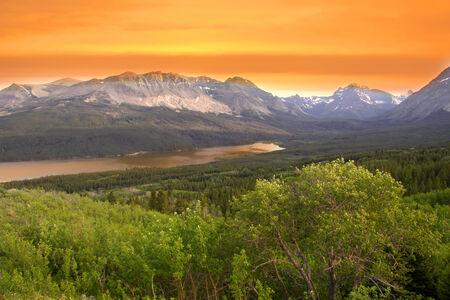 Glacier national park in twilight photo