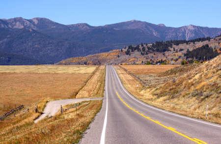 wyoming: Scenic drive through Prairie landscape Stock Photo