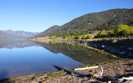 grayling: Scenic Hebgen lake reflections in Montana