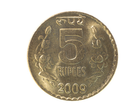 five objects: Five Rupee coin